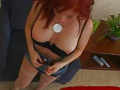 Stunning busty redhean milf doing blowjob and fucking hard with a huge cock