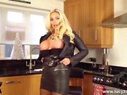 Blonde Milf Lucy Zara toying wet pussy in all leather outfit