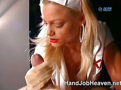 Nurse in latex gloves gives a handjob