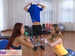 Fitness Rooms Naughty young girls cock hungry threesome