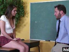 Skinny schoolgirl plays with a big dick