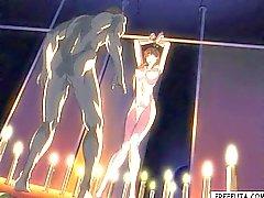 Oben gebunden Hentai Mädchen wird vom Transvestiten fickte