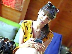 Arousing brunette Dana enjoys in giving interview
