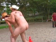 homens universitários heterossexuais apanhado porra na fita
