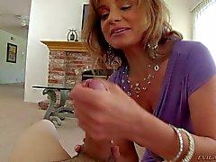 Cock loving milf Rebecca Bardoux jerks man off