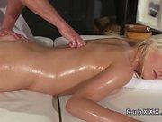 After relaxing massage blonde bangs masseur