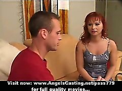 Redhead milf as bride does blowjob for big guy in front of other