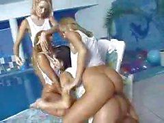 Grupo de Naked Girls Reproducción Por La Piscina