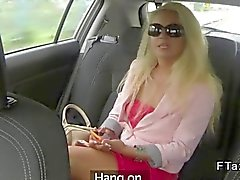 Blonde in thongs fucking in a fake taxi