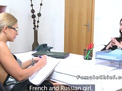 Female agent punps toy in babes pussy in casting