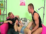 Charming darling is sharing her twat with 2 horny dudes