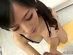 Talented Japanese AV model Manami Komukai uses her special
