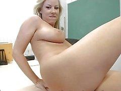 Seductive blonde teacher masturbates in expensive sexy lingerie