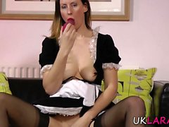 Toying mature brit maid