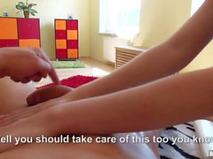 Topless teen Elena Gilbert gives handjob
