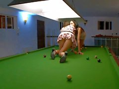 Lesbian Ivana has pool room Sex with Mia