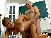 Honey gives old teacher blowjob till she gets cumshot