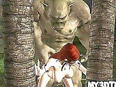 Warm 3D Cartoon Elf Babe bekommt hart Ork gefickt zu