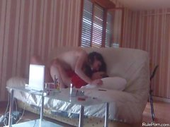French curly long haired wife gets fucked on the s