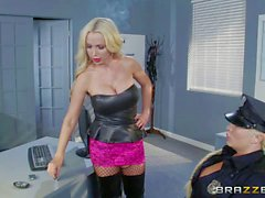 Lesbian hooker Nikki Benz fucks police officer Summer Brielle to get released
