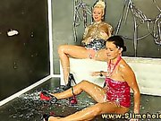 Laetitia and Candy Blond bukkake at gloryhole