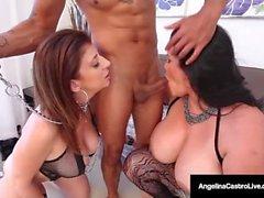 Cuban BBW, Angelina Castro y Sara Jay son esclavas sumisas!
