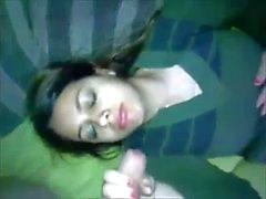 cuming on Desi Muslim girls face