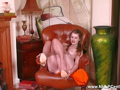 Horny blonde Brook Logan wanks off in vintage fully fashioned nylons and garters