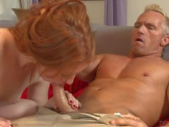 Oral sex with pink pussy redhead Madelyn Rose