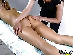 Hairy pussy cutie enjoys a massage