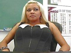Classy blonde teacher masturbating in expensive black lingerie