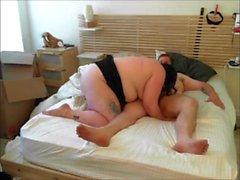 Chubby Paar Romp im Bett