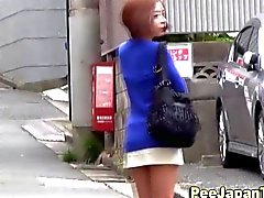 Pipi chick Asian pisses en public