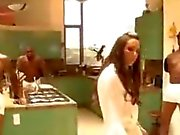 Black cock-loving brunette's first DP IR GB scene