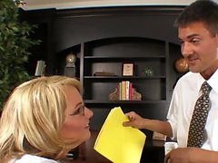 Hot blonde with glasses gets a pounding