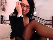 Cute Slampa Med glasögon Masturbates