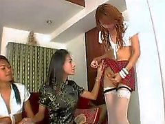 Tranniesgold School saugt Ladyboy-/Wildfang-Toilette