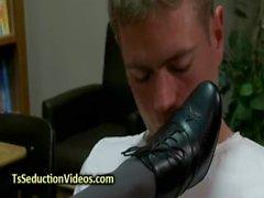 Black tranny in pantyhose fucks dude