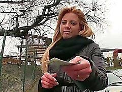 European slut Cherie mouth cum for money
