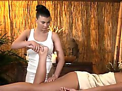 Busty lesbian masseuse licked out by cutie