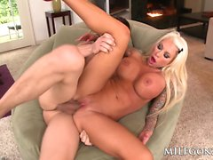MILFGonzo busty tattooed blonde Lolly Ink fucks a big dick