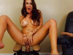 Big Tits Tattooed Brunette Anal Sex Machine