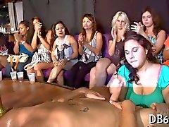 Brunette sluts get banged by a masked stripper