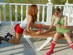 Ivana and Vika play with Sex toys in the sun
