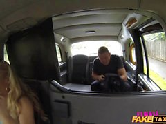 Hot amateur taxi driver fucks her customer in the backseat