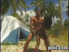 Dark Couple Fucking At The Beach