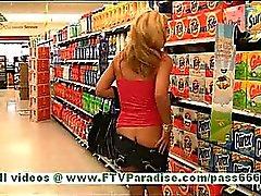 Ashley amazing blonde woman public flashing tits