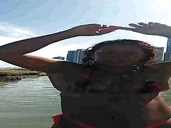 Crazy Dinha dancing on the beach again