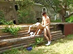 Twinks trying out the doggy style outdoor
