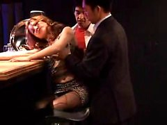 Slender Oriental babe in stockings gets treated like a slut